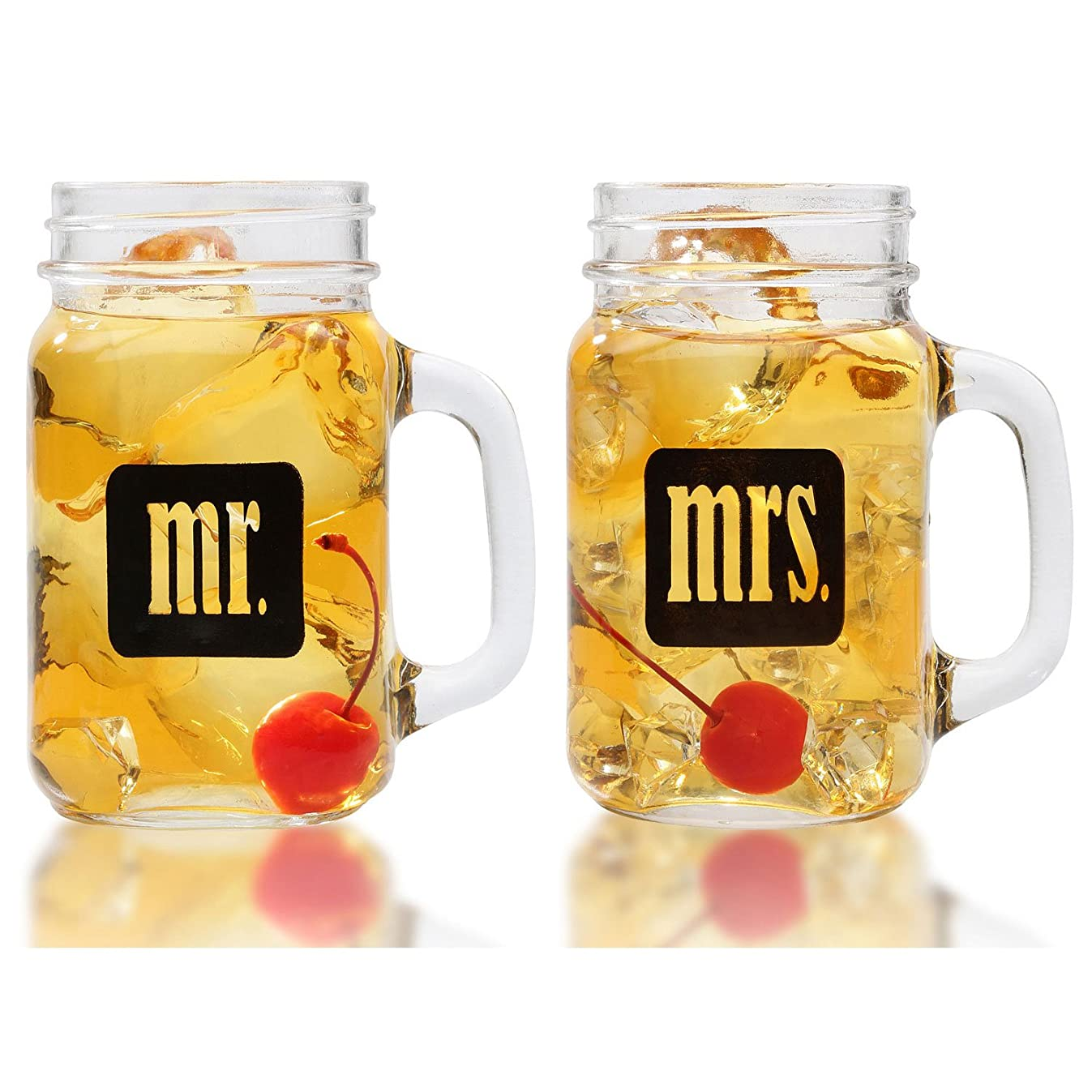 Mr. & Mrs. Mason Jars - Glass Drinking Glasses Set With Gift Box - For Couples - Engagement, Wedding, Anniversary, House Warming, Hostess Gift, 16 oz