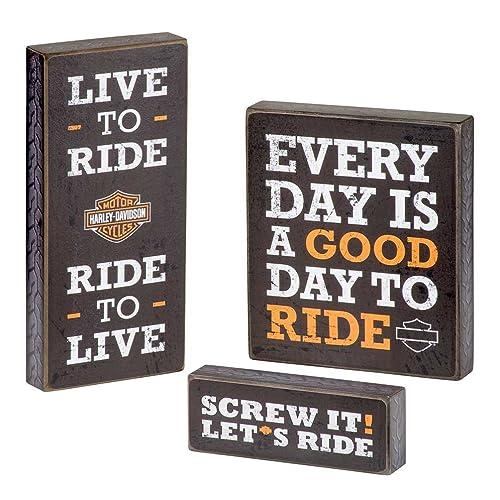 Wonderful Harley Davidson Wooden Harley Motto Pub Signs, Set Of Three, Black HDL