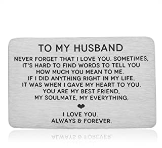 I Love You Gifts to Husband Engraved Wallet Card Insert for Valentines Day Christmas to Men Boyfriend Anniversary Birthday...