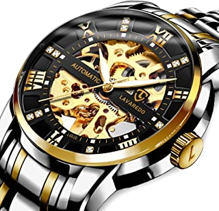 Men's Watch Mechanical Stainless Steel Skeleton Waterproof Automatic Self-Winding Rome Number Diamond Dial Wrist Watch