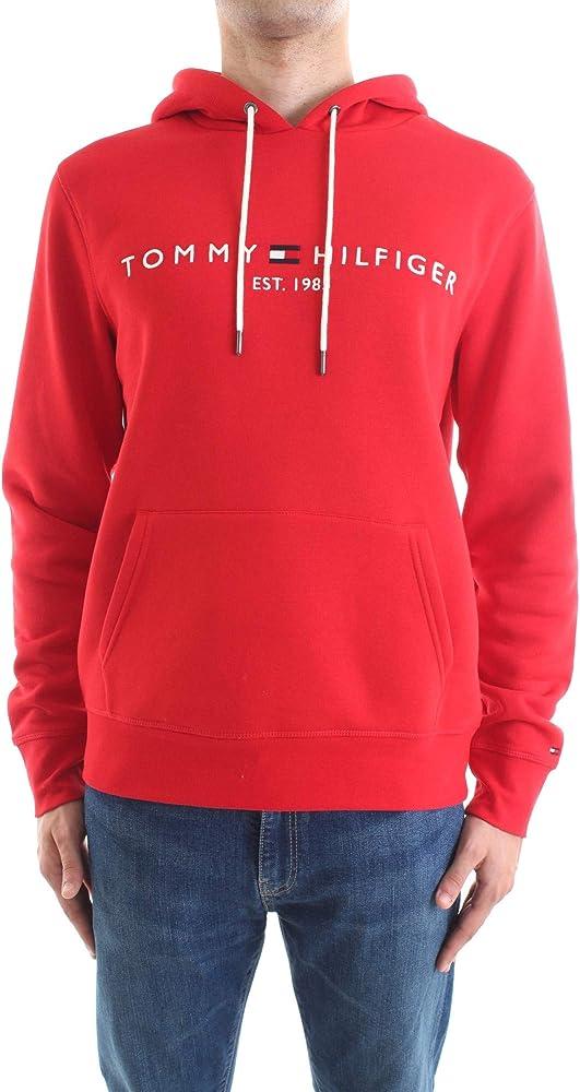 Tommy hilfiger tommy logo hoody felpa per uomo con cappuccio 70% cotone organico 30% poliestere MW0MW11599G