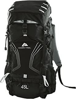 OZARK TRAIL - 45L Montpelier Technical Backpack, Removable Aluminum Frame, 2 Side Mesh Pockets, Trekking Pole Attachment Points, Perfect for Hiking, Camping and Trekking