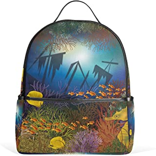 MASSIKOA Underwater Wallpaper with Ship and Fishes Laptop Backpack Casual Shoulder Daypack for Student School Bag Handbag ...