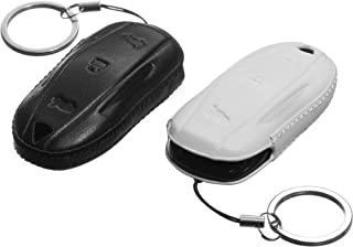 OzniumX Leather Key Fob Cover for Tesla Model S/3, Black and White - (2 Pack)