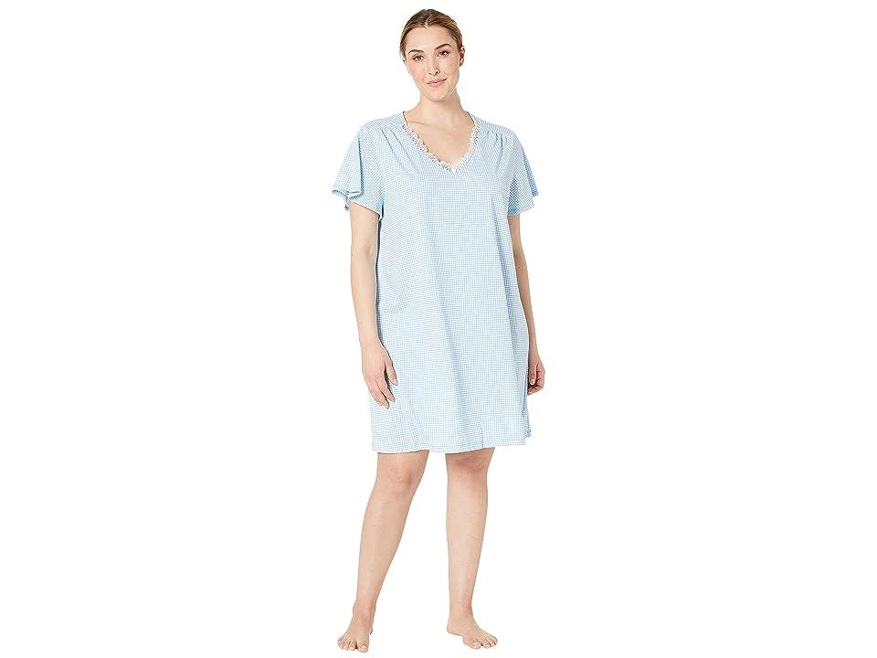 Karen Neuburger Plus Size Dreamer Short Sleeve Nightshirt (Gingham/Blue) Women