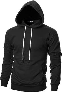 OHOO Mens Slim Fit Long Sleeve Lightweight Hoodie with Kanga Pocket
