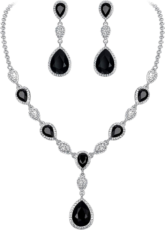 EleQueen Women's Cubic Zirconia Teardrop Y-Necklaces Dangle Earrings Jewelry Sets for Brides Bridesmaids