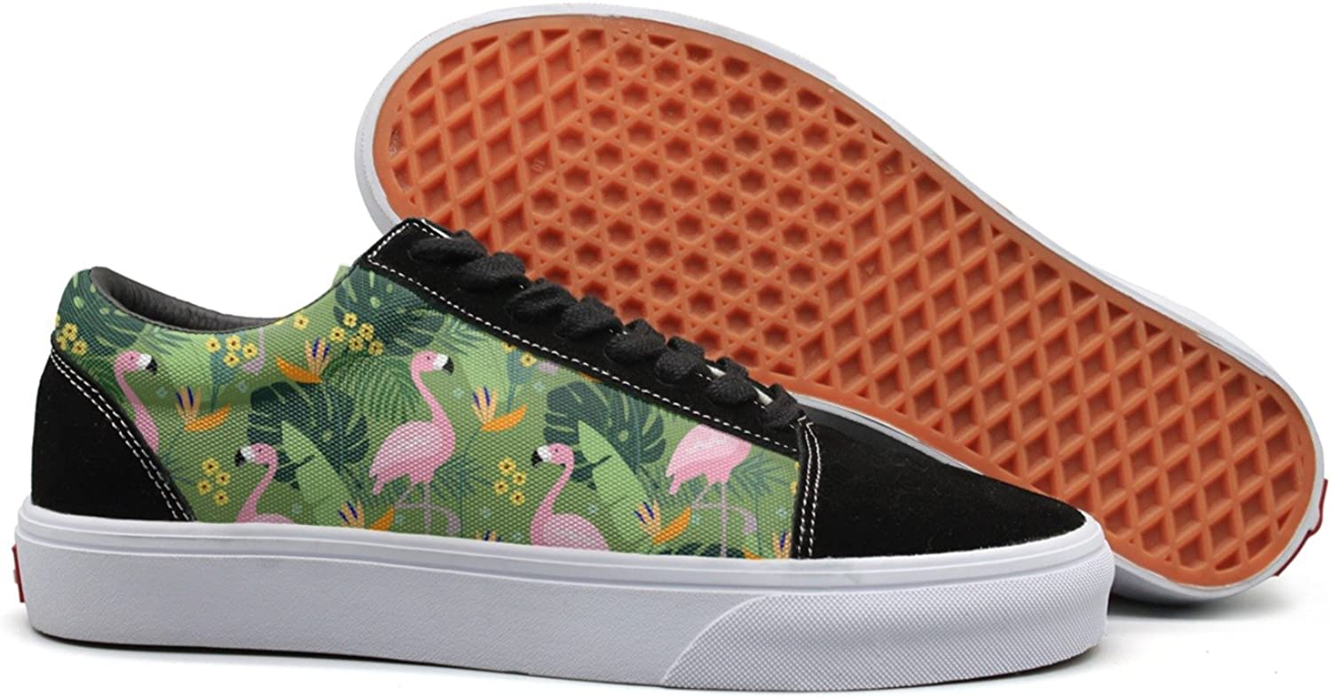 Feenfling Tropical Jungle with Flamingo Womens Flat Canvas Tennis shoes Low Top Cool Sneaker for Women's