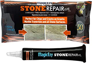 MagicEzy Stone Repairezy - (Clear) - Stone Fix - Adhesive Sealant- Granite, Marble, Travertine - Fix Damage Fast - Tiles and Countertops