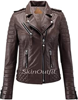SKINOUTFIT Women's Leather Jackets Motorcycle Biker Genuine Lambskin Brown