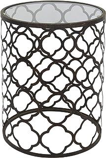 Palais Furnishings 'Feuilles' Metal Barrel End Table (Quatrofoil Bronze)