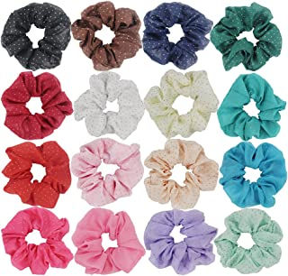 Pack of 16 Chiffon Hair Scrunchies with Gold Dots