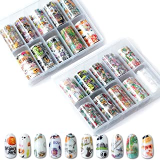 20 Roll Nail Art Stickers Nail Foil Transfer Wraps Decals, Nail Art DIY Decoration Kit for Halloween Christmas Festival (Pumpkin, Bat, Spider,Snowman,Snowflake,Biscuit Man, Gift)