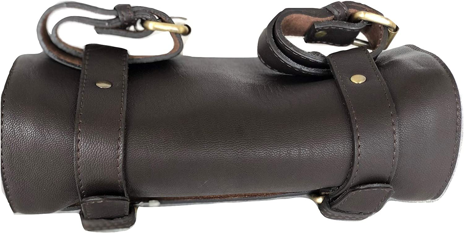 The Vintage Stuff Leather Handlebar Bag Brown Saddle Motorcycle Bag Bicycle Tool Bag Buff Leather Travel Accessory Pouch
