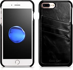 iPhone 8 Plus Wallet Case, Genuine Leather iPhone 7 Plus Wallet Case with Card Holder - Snap on Case with 3 Card Slots, Shockproof Cover for Apple iPhone 7 Plus (2016)/iPhone 8 Plus (2017) 5.5 Inch