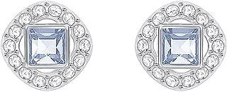 Swarovski Crystal Blue Angelic Square Rhodium-Plated Earrings