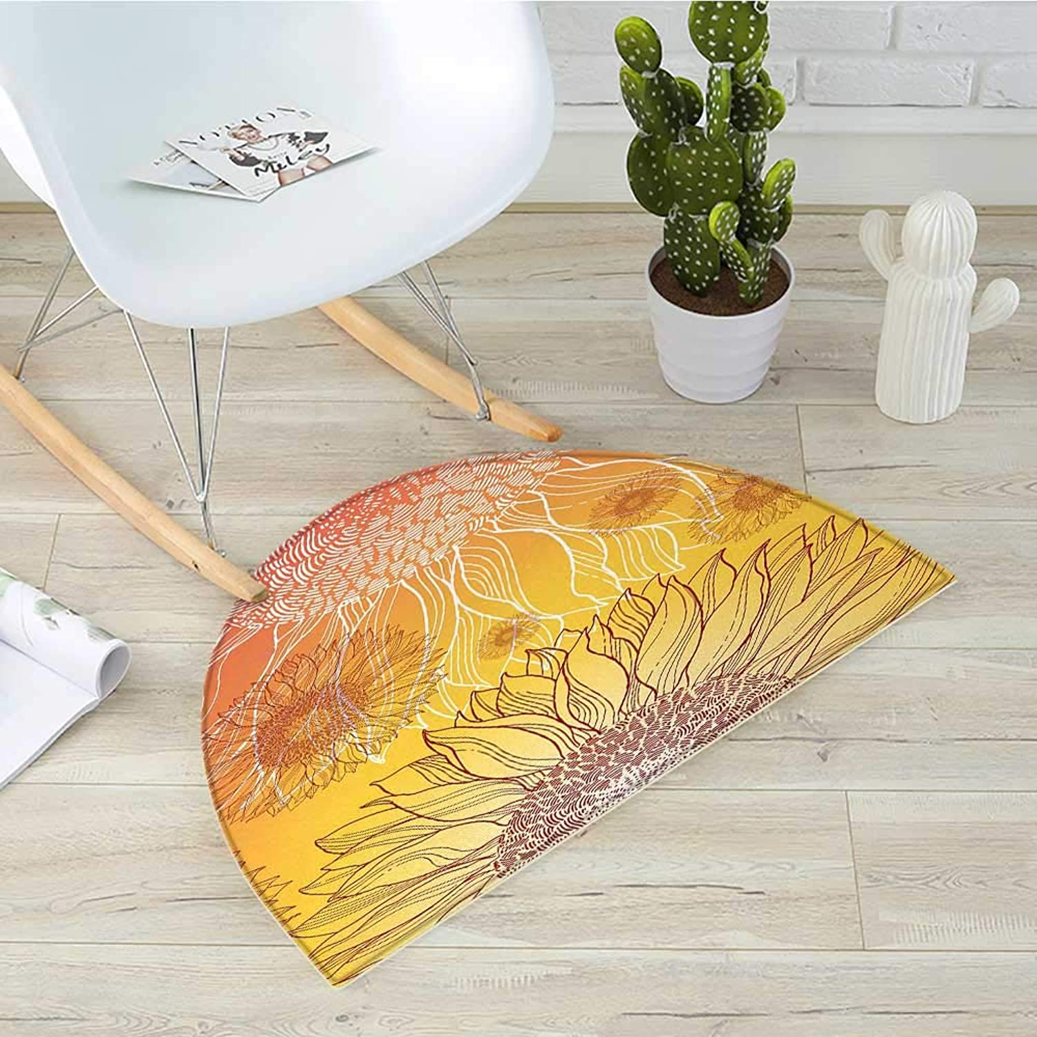 Botanical Semicircular CushionSunflowers in Warm colors Doodle Agriculture Design Blooming Plants Entry Door Mat H 43.3  xD 64.9  orange Yellow Burgundy