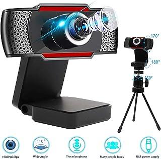 0BEST Webcam 1080P Full HD con Microfono y Trípode Multifunción, Web Cámara Portátil USB para PC, Compatible con Skype, MSN, Facebook, para Videollamadas, Conferencias, Negro