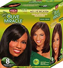 African Pride Olive Miracle Deep Conditioning No-Lye Relaxer - Regular Kit 8-Count
