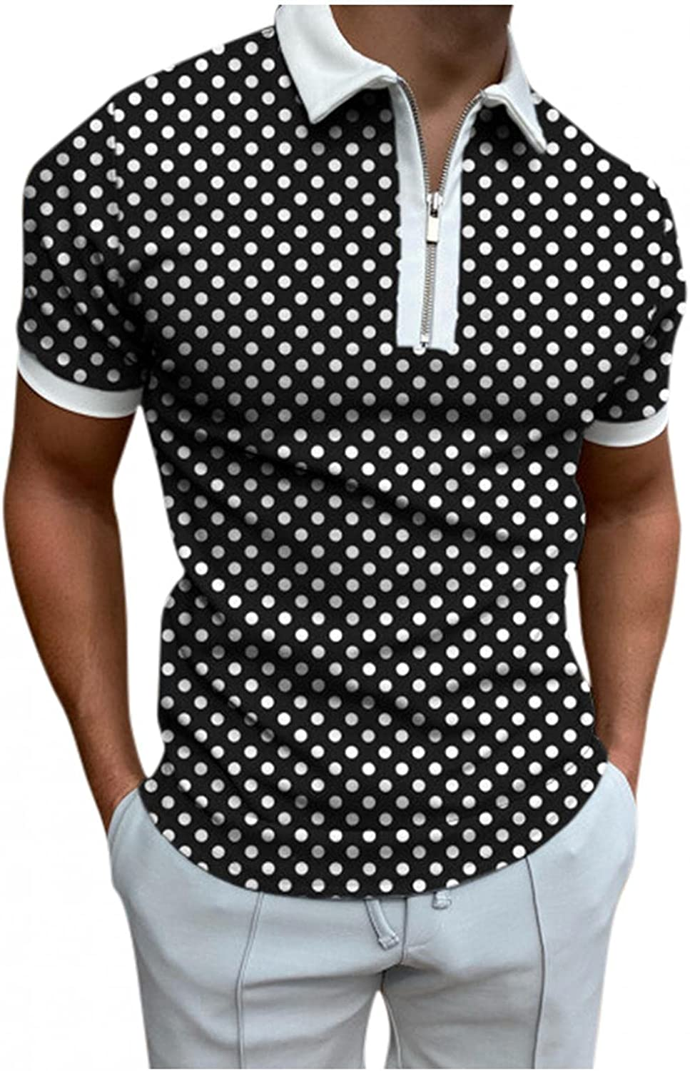 Polo Shirts for Men Short Sleeve Polka Dots Printed Zipper Tees Casual Slim Fit Business Pullover Soft Blouse Tops
