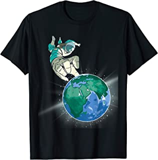 Space-Man Astronauts Grabbing Earth Funny Science Lover Gift T-Shirt