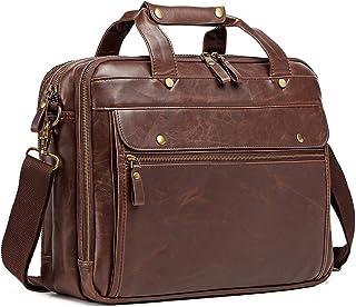 Leather Briefcase for Men ComputerBag Laptop Bag Waterproof Retro Business Travel Messenger Bag for Men Large Tote 15.6 Inch Brown