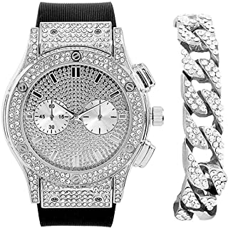 Hip Hop Bang Bang All Over You Men's Watch with Silver Iced Cuban Bracelet - Bling-ed Out Case and Dial with Smooth Black Easy Lock Rubber Band - ST10311SLC Cuban Set