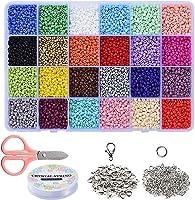 Braleto 24 Kleuren Glas Losse Rocailles Kralen,voor Sieraden Maken voor Kinderen, DIY Armband Decoratie Arts and Crafts...
