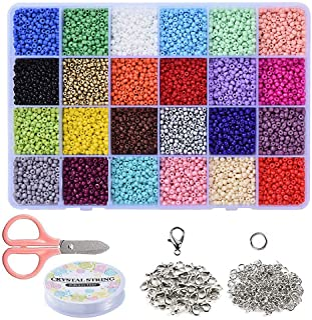 Braleto 24 Kleuren Glas Losse Rocailles Kralen,voor Sieraden Maken voor Kinderen, DIY Armband Decoratie Arts and Crafts Ki...