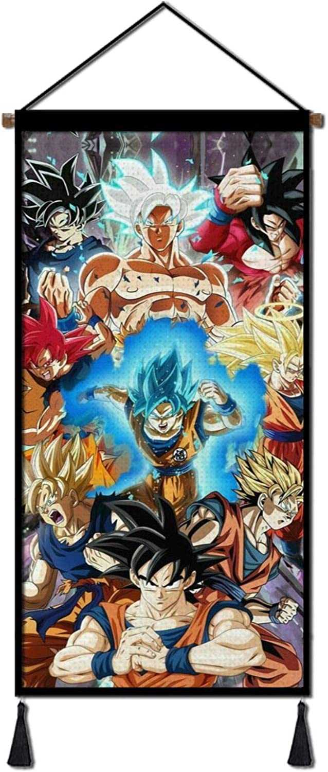 Anime Canvas Painting Poster, Hanging Wall Art Scroll Artwork Print Decor Picture 18x36in for Bedroom Office