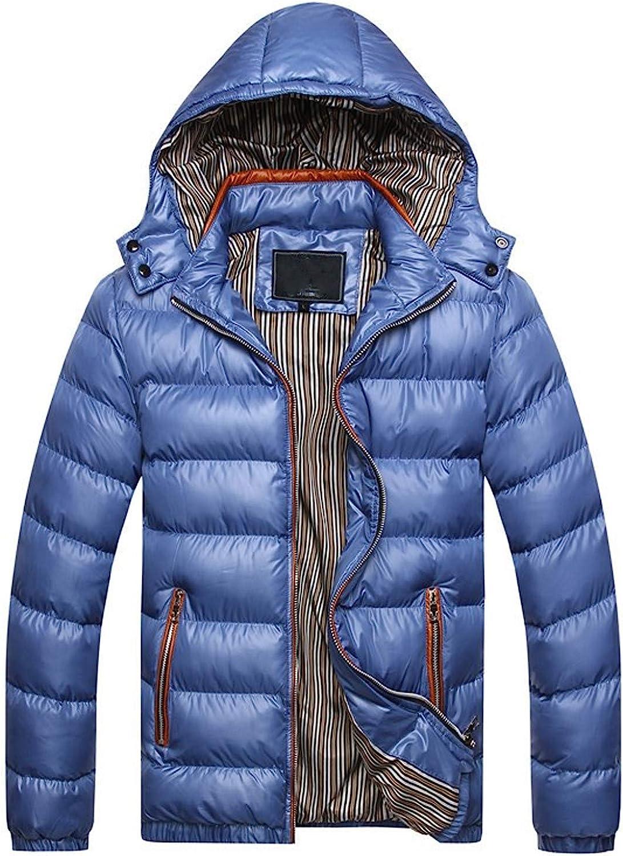 HDGTSA Men's Winter Cotton Jacket Hat Removable Thickening Warm Cotton Padded Coat