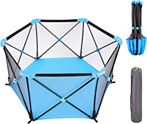 WIPALO Baby Playpen Portable  Playpens for Babies  Hexagonal Infant Play  Playpen Infant Play Playpen with Storage Bag  Durable Fold Playpen  Portable Playard for 0-4 Ages  Blue