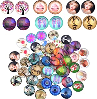 Glass Dome Cabochons, 50 Pieces Mixed Pattern Mosaic Printed Glass Half Round/Dome Cabochons Tiles 12mm for Jewelry Making - Multi Series (Tree of Life, Owl, Cherry, Flower, etc.)