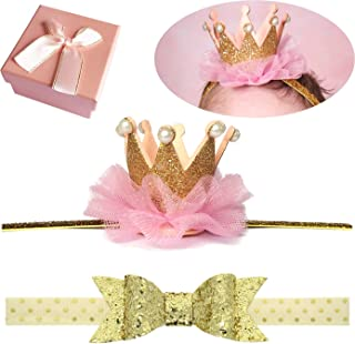 Elesa Miracle Hair Accessories Baby Girl's Gift Box with Shiny Bow Crown Tiara Headband