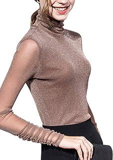 Women's Turtleneck Top Long Sleeve/Sleeveless Slim Fit Shirts Mesh Sheer See Through Casual Top