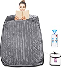 Aceshin Portable Steam Sauna Home Spa, 2L Personal Therapeutic Sauna Weight Loss Slimming Detox with Fodable Chair, Remote Control, Timer (Gray)