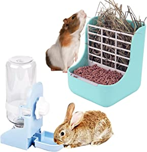 HERCOCCI Rabbit Hay Food Feeders Rack, Guinea Pig Water Bottle No Drip, 2-in-1 Small Pet Rabbit Water Food Feeding Set with Hay Food Feeder Bowls Hanging Water Dispenser for Bunny Chinchilla Syrian