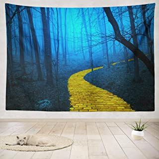 threetothree 80 X 60 Inches Tapestry Wall Hanging Interior Decorative Yellow Brick Road Spooky Foggy Forest Dark Scene Woods Fog for Bedroom Living Room Tablecloth Dorm