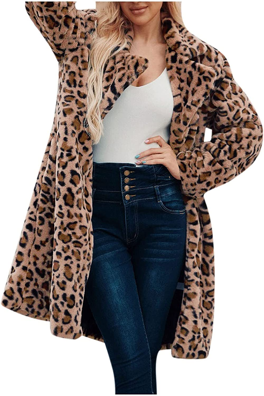 Goldweather Women Faux Plush Winter Coats Warm Leopard Print Lapel Open Front Fuzzy Cardigan Jacket Outerwear with Pockets