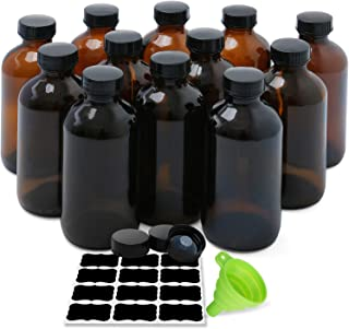 Amber Boston Round Bottles, ESARORA 12 Pack 8oz Amber Glass Bottles with Black Poly Cone Cap Fit for Essential Oils - Cleaning Products - Aromatherapy (Silicone Funnel and 12 Labels)