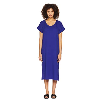 Eileen Fisher V-Neck Cotton Gauze Dress (Blue Violet) Women