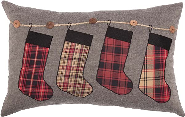 VHC Brands Rustic Lodge Holiday Pillows Throws Andes Grey Stocking 14 X 22 Pillow Red