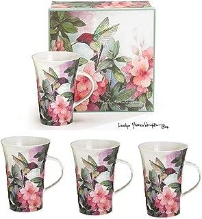 Set Of 4 Hummingbird And Azalea Porcelain Mugs Designed By Artist Carolyn Shores Wright