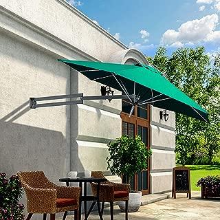 DFVV Cantilever Parasol,2.5m in Diameter,Outdoor Parasol,Solar LED Light, Foldable Telescopic Balcony Umbrella,Waterproof Material, Patio Umbrella, Leisure Parasol