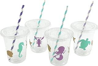 Mermaid Cups - 12 Set Plastic Lids Straws Birthday Party Supplies Baby Shower
