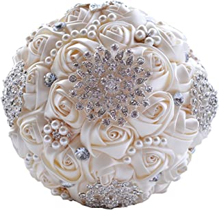 Wedding Flowers Bridal Bouquets Elegant Pearl Bride Bridesmaid Wedding Bouquet Crystal Sparkle (beige)