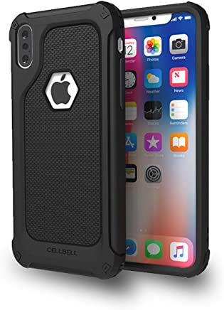 CELLBELL Rugged Armor Back Cover Case for iPhone X[Midnight Black]