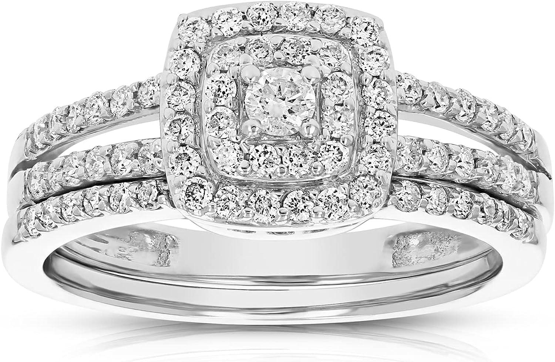 Vir Sacramento Mall Jewels Max 90% OFF 1 2 cttw Diamond Gold 14K Set Ring Wedding Engagement