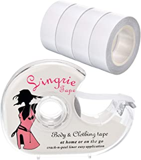 Blulu Boob Body Tape Clear Fabric Double Sided Clothing Tape with Dispenser for Clothes Dress and Bra, 82 Feet