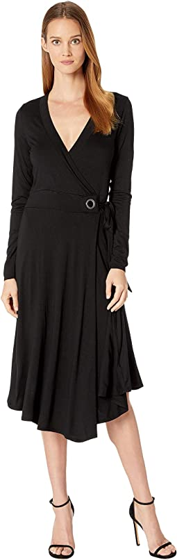 Refined Jersey Wrap Dress w/ Grommet Detail